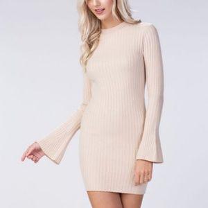 Cream Knit Bell Sleeve Dress